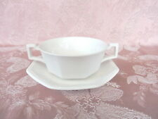 JOHNSON BROS.   HERITAGE  WHITE    Soup Coupe and Under Plate  ENGLAND  VINTAGE