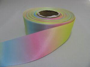 10mm 15mm 25mm 38mm 50mm Light Pastel Rainbow Unicorn Satin Ribbon Foil Gradient
