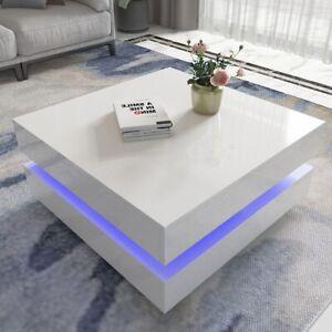 High Gloss Coffee Table Rectangular with RGB LED Light Living Room White Modern