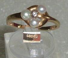 Ring aus 585er Gold mit Perlen und Diamant, Gr. 56, Ø 17,8 mm (da3574)