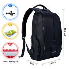26L Laptop Backpack Waterproof Rucksack Notebook Bag Hiking Knapsack + USB Port