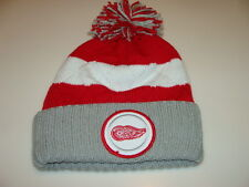 Detroit Red Wings Hockey Cap Hat Beanie Pom Toque Mitchell Ness Quilted Crown