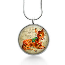 Deer Necklace with deer laying down and red christmas bells - holiday  gifts