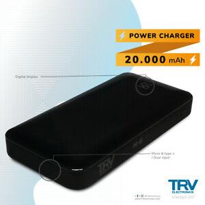 Power Bank 20000mAh Dual Micro USB and Type-C External Battery Fast Charging