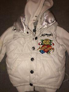 Ed Hardy Padded Jacket by Christian Audigier In White- (kid size 6)