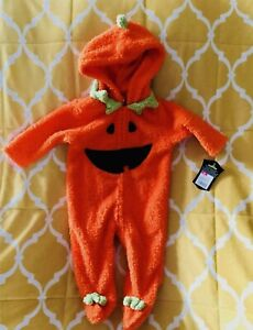 Plush Pumpkin Halloween Costume 6M 9M Orange Polyester Hooded