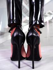 Fetish Pelle Tacco Alto 1969 Sandali Donna E67 Sexy Shoes Vintage Nero Taglia 36