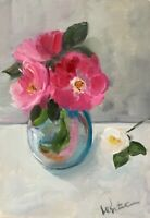 Print of Original oil painting art floral pink roses  impressionism shabby chic
