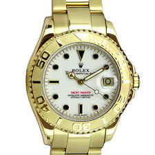 ROLEX - 35mm 18kt Gold Mid-Size YachtMaster White Black Index - 68628 SANT BLANC