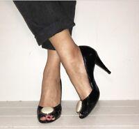 DUNE Black Patent Peep Toe High Heels Courts Size 6 / 39