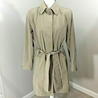 Womens London Fog Khaki Belted Water Repellent Trench Coat Lined Size Medium