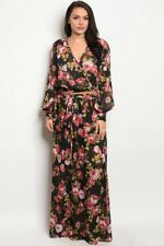 Women's Plus Size Black and Pink Floral Chiffon Top and Maxi Skirt Set 1X NWT