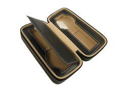 Genuine Leather Travel Watch Case Portable Zipper Fold book Slot Box storage box