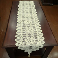 Vintage Table Runner Dresser Scarf Oval Lace Doilies Wedding 12x59inch Ecru