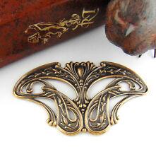 ANTIQUE BRASS Art Nouveau Pendant / Plaque Stamping ~ Ornament Finding (C-808)