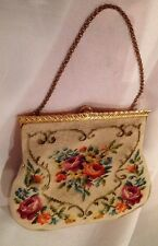 A21 Vintage Dual Sided Needle Point Purse Gold Bar Top Clip Closure Golden Chain