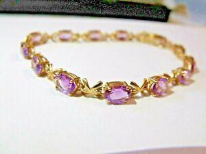 9ct Solid Gold Amethyst Bracelet Hallmarked