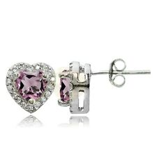 Sterling Silver Simulated Alexandrite and White Topaz Heart Stud Earrings