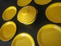 Vintage YELLOW ENAMELWARE METAL PLATES DESSERT CHILI POT SOUP CAMPING CAMPER