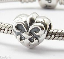 FLEUR-DE-LIS/LYS HEART CHARM Bead Sterling Silver .925 For European Bracelet 680