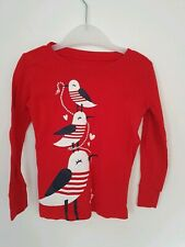 Old Navy Red Long Sleved Top Age 4 Seagull Design