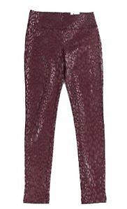 INC Womens Leggings Red Size 10 Metallic Leopard Print Skinny Pull-On $59 164