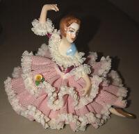 Vintage Dresden Original Porcelain Pink Lace Sitting Ballerina