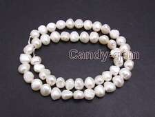 SALE 8-9mm White Natural Baroque Freshwater Pearl Loose Beads Strand 14''-los720