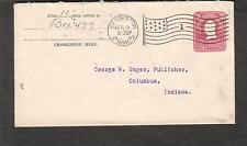 1907 cover Crookston MN flag cancel number 1 to George W Unger Columbus OH