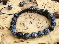 Men's Gemstone bracelet all 10mm Snowflake Obsidian faceted beads