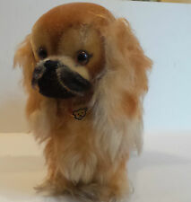 "VINTAGE 1960's STEIFF 9"" LONG & SHORT CURLY MOHAIR ""PEKY"" PEKINESE DOG w/ TAG"