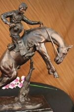 "Bronco Twister"", Hot Cast Bronze Cowboy on Horseback Sculpture Hot Cast Figure"