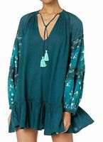Free People Womens Tunic Dress Blue Size Medium M Embroider-Sleeve $128- 427