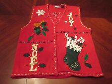 WOMEN'S BOBBIE BROOKS UGLY CHRISTMAS JOY NOEL PARTY SWEATER VEST GAUDY SIZE M