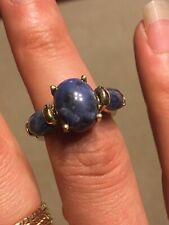 Beautiful Blue Stone (Sodalite) Ring Sterling Silver Gold Overlay Size 7