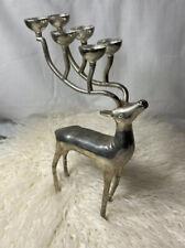 Silver Reindeer Candle Holder Candelabra Deer Horns Christmas Crystals Trinkets