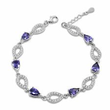 Genuine 925 Silver Infinity Tennis Bracelet Purple Amethyst and Cubic Zirconia
