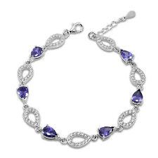 Genuine 925 Silver Infinity Tennis Bracelet Purple Amethyst and Cubic Zirconia