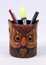 Hand Painted Antique Color Owl Pen Pencil Holder Face On Tree Trunk 409A