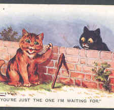WAIN CATS,SLY FELLOW ABOUT TO KONK BLACK CAT,POSTCARD