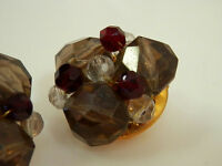 Neat-O Ruby Red Crystal Smokey Lucite Vintage 1950s Earrings  977H