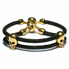 Mens Black Stingray Leather Bracelet with 18K Gold Plated Skull Beads - 19.5cm