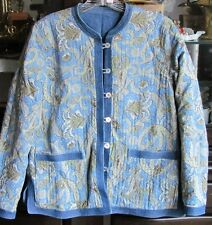 Appleseeds Reversible Quilted Blue Denim and Paisley Jacket Ladies Size Petite S