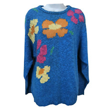 Lady Lilly Sweater Blue Floral Boho Long Sleeve Knit Cotton Vintage Top Size L
