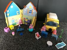 PEPPA PIG CAMPER VAN VEHICLE AND HOUSE WITH FIGURES TOY PLAY SET