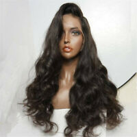 Women Long Body Wave Lace Front Wig Heat Resistant Synthetic Hair Black 24''