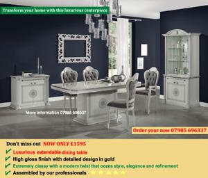 Aurora Italian dining table & chairs - 100% made in Italy - Grey Italian Table