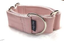"1.5"" SOFT PINK LEATHER GREYHOUND MARTINGALE DOG COLLAR"