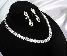 Signed Weiss Baguette Rhinestone Necklace & Dangle Clip Baguette Earrings