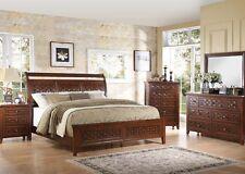 Modern Walnut Finish Carmela Cal. King Size Bed 4 Piece Bedroom Set  Furniture